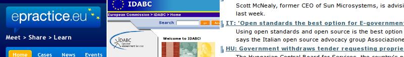 Isečci snimka ekrana sajtova epractice.eu, ec.europa.eu/idabc i osor.eu